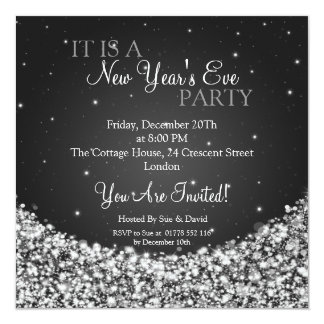 New Years Eve Party Night Sparkle Black Invitation