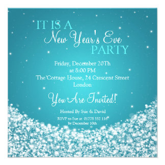 New Years Eve Party Night Sparkle Blue Invitations