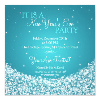 New Years Eve Party Night Sparkle Blue 5.25x5.25 Square Paper Invitation Card