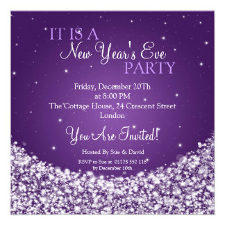 New Years Eve Party Night Sparkle Purple Custom Invites