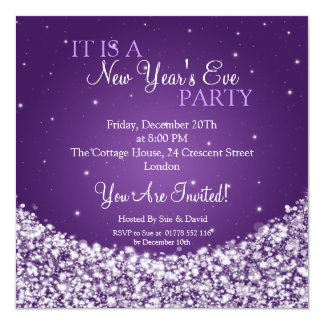 New Years Eve Party Night Sparkle Purple 5.25x5.25 Square Paper Invitation Card