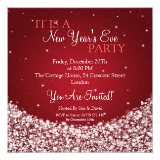 New Years Eve Party Night Sparkle Red Custom Invite