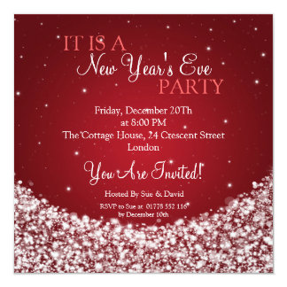 New Years Eve Party Night Sparkle Red Invitation