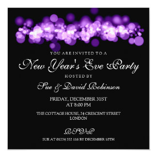 New Year's Eve Party Purple Bokeh Lights Card