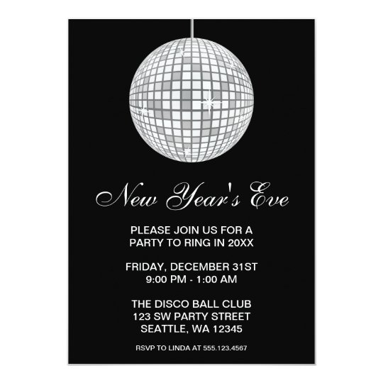New Years Eve Party Silver Disco Ball Card