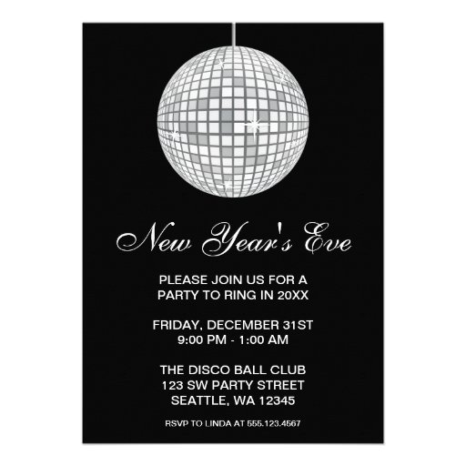New Years Eve Party Silver Disco Ball Custom Announcement