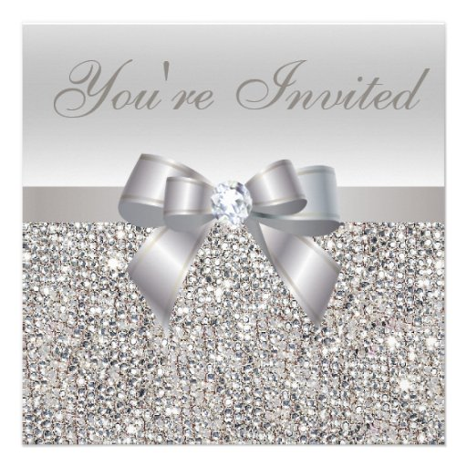 New Year's Eve Party Silver Sequins Diamond Print Personalized Announcements