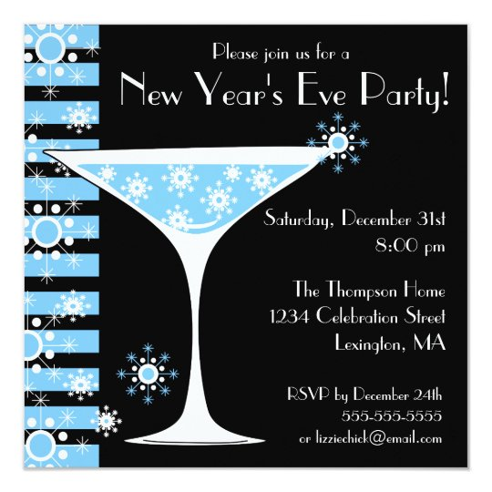 New Years Eve Party Snowflake Cocktail Invitation