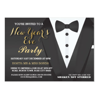 New Year's Eve Party Tuxedo Bow Tie Dinner Invite