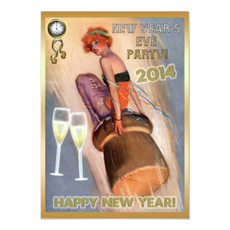 New Year's Eve Party Vintage Girl & Champagne Cork 5x7 Paper Invitation Card