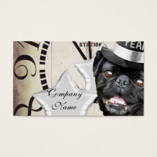 New Year's Eve pug dog Business Card