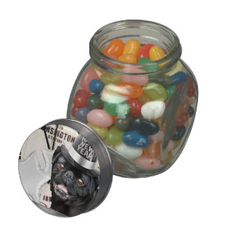 New Year's Eve pug dog Jelly Belly Candy Jar