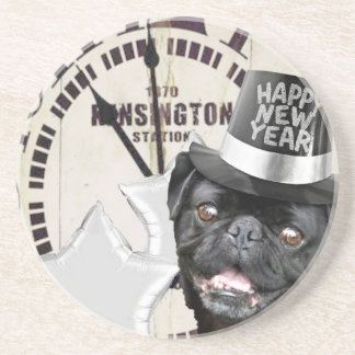 New Year's Eve pug dog Drink Coaster