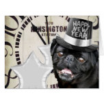 New Year's Eve pug dog Greeting Card