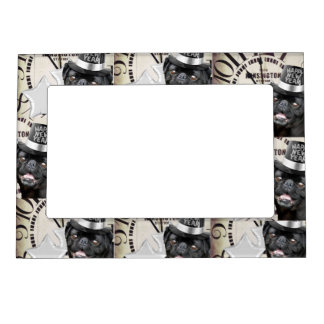 New Year's Eve pug dog Magnetic Picture Frame