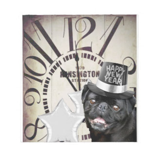 New Year's Eve pug dog Notepad