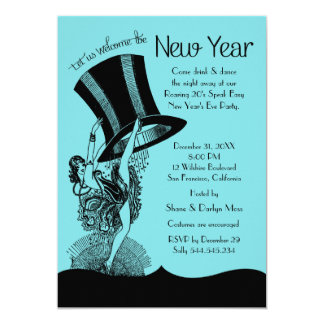 """New Year's Eve Roaring 20's Party 5"""" X 7"""" Invitation Card"""