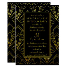 New Years Eve Speakeasy Party Black Gold Art Deco Invitation