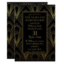 New Years Eve Speakeasy Party Black Gold Art Deco Invitation