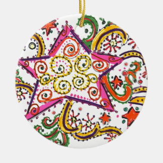 New Year's Eve Star, pen/ink design Ceramic Ornament