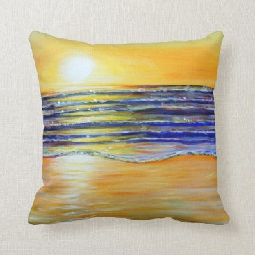 Beach Themed New Year's Eve Sunset Throw Pillow