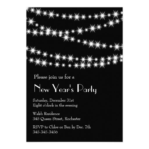 New Year's Eve Twinkle Lights Personalized Announcement