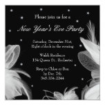 New Year's Eve Winter White Feathers Invitation