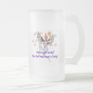 New Year's Fairy 16 Oz Frosted Glass Beer Mug