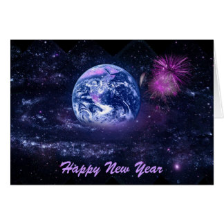 New Year's Fireworks in Space Greeting Card