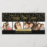 """New Years Gold Dots 4-Photo Card<br><div class=""""desc"""">Celebrate the new year with this stylish new year&#39;s photo card,  featuring faux gold foil dots.</div>"""