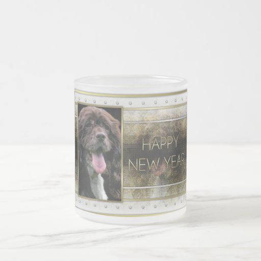 New Years - Golden Elegance - Cocker Spaniel 10 Oz Frosted Glass Coffee Mug