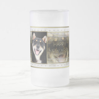 New Years - Golden Elegance - Shiba Inu - Hachi Frosted Glass Beer Mug