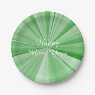 New Years Green Paper Plates by Janz 7 inch