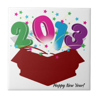 New Year's Greeting Small Square Tile