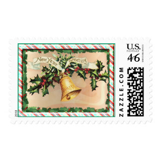 NEW YEARS GREETINGS & BORDER by SHARON SHARPE Postage
