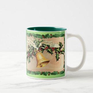 NEW YEARS GREETINGS & HOLLY by SHARON SHARPE Two-Tone Coffee Mug