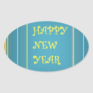 New Year's Greetings Oval Sticker