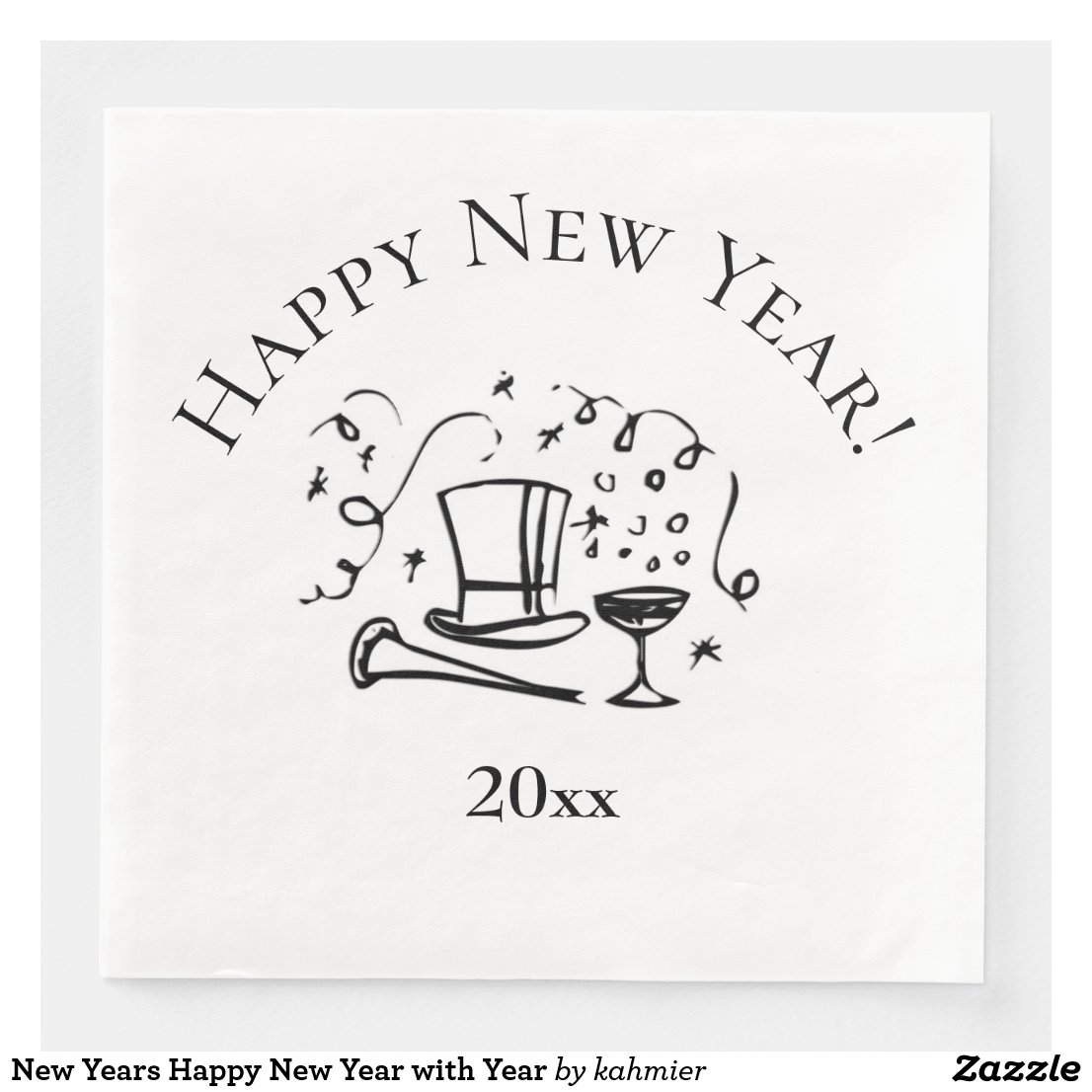New Years Happy New Year with Year Paper Dinner Napkin