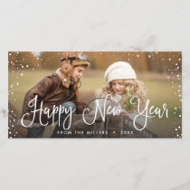 New Years Holidays Snow Photo Holiday Card