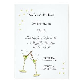 New Year's Invitations, Martini Glasses, Olives