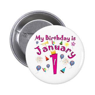 New Year's January 1 Birthday Pin
