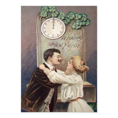 New Year's Kiss Four Leaf Clover Clock 5x7 Paper Invitation Card