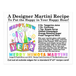 New Year's Merry Mimosa Martini Recipe Postcard