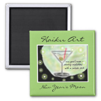 New Years Moon Haiku Art, New Year's Moon Magnet