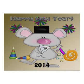 New Year's Mouse Poster/Print Poster