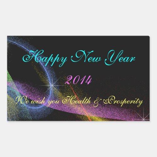New Years Neon Fireworks Wine Water Bottle Labels