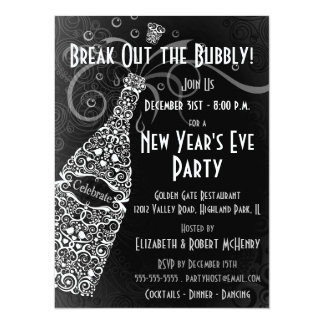 New Year's Party Champagne Celebration Card