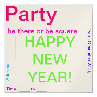New Years Party 5.25x5.25 Square Paper Invitation Card