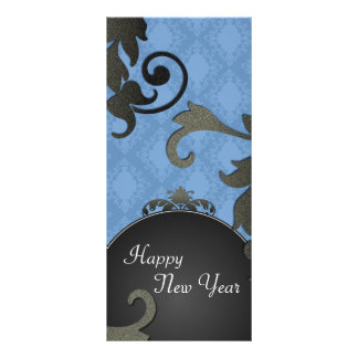 New Years Party Invite - Black & Blue Damask Custom Rack Card