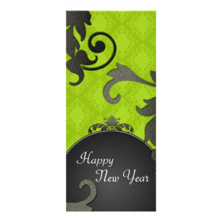New Years Party Invite - Black & Green Damask Rack Cards